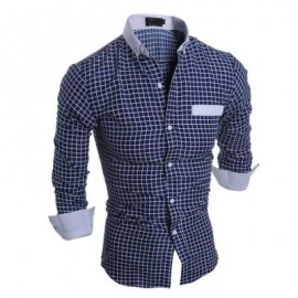 image of CASUAL SLIM FIT LATTICE TURN DOWN COLLAR LONG SLEEVE FOR MALE (CADETBLUE) XL