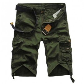 image of CASUAL MID WAIST PURE COLOR LOOSE-FITTING MULTIPLE POCKET COTTON MEN SHORTS (ARMY GREEN) 30