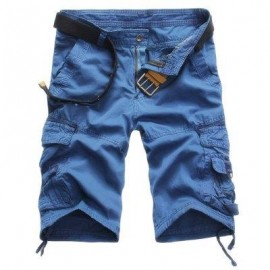 image of CASUAL MID WAIST PURE COLOR LOOSE-FITTING MULTIPLE POCKET COTTON MEN SHORTS (BLUE) 34