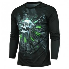 image of CLOCK AND SKULL PRINTED LONG SLEEVES T-SHIRT (BLACK) 2XL