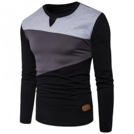image of CREW NECK PU LEATHER APPLIQUE PANEL DESIGN T-SHIRT (BLACK) 2XL