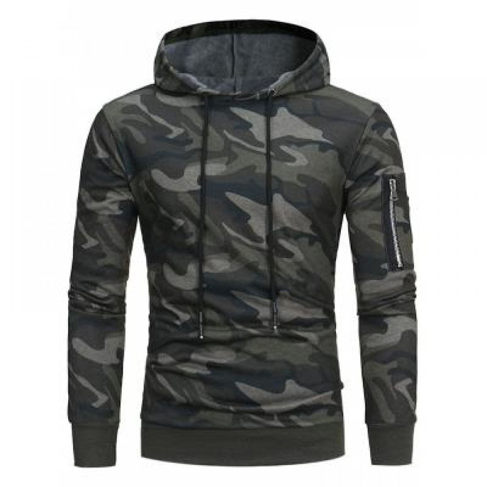 HOODED CAMOUFLAGE FLEECE PULLOVER HOODIE (GREEN) 2XL