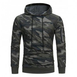 image of HOODED CAMOUFLAGE FLEECE PULLOVER HOODIE (GREEN) 2XL