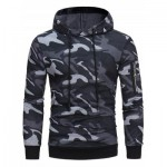 HOODED CAMOUFLAGE FLEECE PULLOVER HOODIE (GRAY) 2XL
