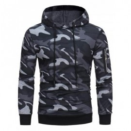 image of HOODED CAMOUFLAGE FLEECE PULLOVER HOODIE (GRAY) 2XL