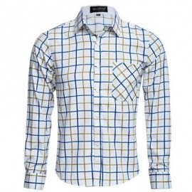 image of CASUAL TURN DOWN COLLAR LONG SLEEVE PLAID PRINT BUTTON AND POCKET DESIGN SHIRT FOR MEN (YELLOW) L