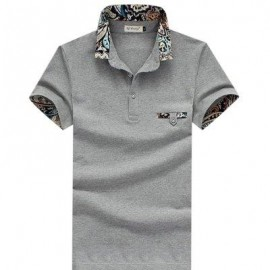 image of STYLISH TURN COLLAR SHORT SLEEVE SPLICED PRINTED SHEATHY SHIRT FOR MEN (GRAY) M