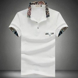 image of STYLISH TURN COLLAR SHORT SLEEVE SPLICED PRINTED SHEATHY SHIRT FOR MEN (WHITE) XL