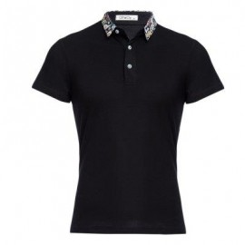image of STYLISH TURN COLLAR SHORT SLEEVE SPLICED PRINTED SHEATHY SHIRT FOR MEN (BLACK) M