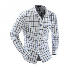 image of CASUAL TURN DOWN COLLAR LONG SLEEVE PLAID PRINT BUTTON AND POCKET DESIGN SHIRT FOR MEN (BLACK) L