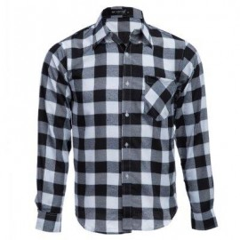 image of SLIM FIT TURN-DOWN COLLAR LONG SLEEVE MALE CASUAL PLAID SHIRT (BLACK) XL