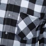 SLIM FIT TURN-DOWN COLLAR LONG SLEEVE MALE CASUAL PLAID SHIRT (BLACK) XL