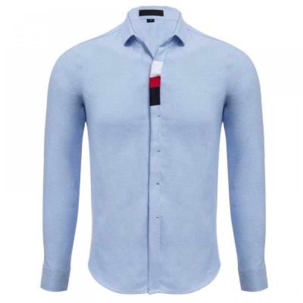 CASUAL SOLID COLOR COTTON BLENDS MALE LONG SLEEVE SHIRT (LIGHT BLUE) M