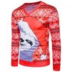 V NECK CHRISTMAS SNOWFLAKE CARTOON PRINT UGLY T-SHIRT (RED) 2XL