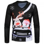 V NECK CHRISTMAS CARTOON SANTA PRINT UGLY T-SHIRT (BLACK) 2XL