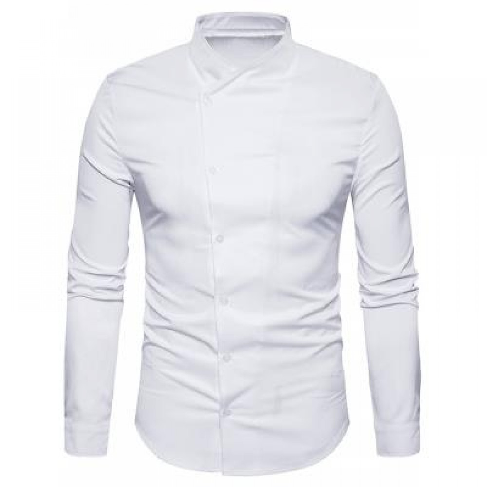 OBLIQUE BUTTON UP STAND COLLAR SHIRT (WHITE) L