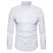 image of OBLIQUE BUTTON UP STAND COLLAR SHIRT (WHITE) L
