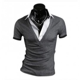 image of FASHIONABLE FALSE TWO PIECES TURN DOWN COLLAR MALE SHORT SLEEVE SHIRT (GRAY M/L/XL/XXL) L