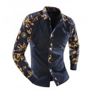 image of ORNATE PRINT SPLICING TURN-DOWN COLLAR LONG SLEEVE SHIRT FOR MEN (CADETBLUE) L