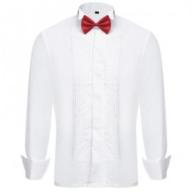 image of SOLID COLOR BOW TIE TURN-DOWN COLLAR MALE FRENCH TUXEDO SHIRT 40
