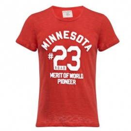image of CASUAL ROUND COLLAR SHORT SLEEVE LETTER NUMBER PRINT T-SHIRT FOR MEN (RED L/XL/2XL) L