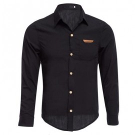 image of SIMPLE DESIGN PURE COLOR MALE TURN DOWN COLLAR LONG SLEEVE SHIRT (BLACK M/L/XL/XXL) M