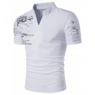 image of STAND COLLAR SPLATTER PAINT GRAPHIC PRINT HENLEY T-SHIRT (WHITE) M