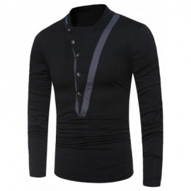image of STAND COLLAR IRREGULAR BUTTONS LONG SLEEVE T-SHIRT (BLACK) L