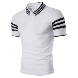 image of TURNDOWN COLLAR STRIPED DESIGN POLO T-SHIRT (WHITE) XL