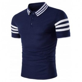 image of TURNDOWN COLLAR STRIPED DESIGN POLO T-SHIRT (CADETBLUE) M