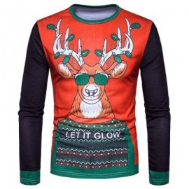 image of CREW NECK 3D REINDEER GRAPHIC PRINT T-SHIRT (COLORMIX) 2XL