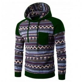 image of COLOR BLOCK TRIBAL PRINTED POCKET HOODED RAGLAN SLEEVE HOODIE (BLACKISH GREEN) XL