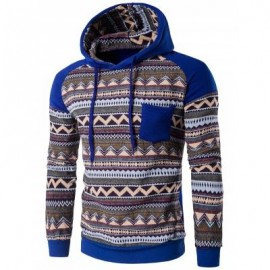 image of COLOR BLOCK TRIBAL PRINTED POCKET HOODED RAGLAN SLEEVE HOODIE (BLUE) 2XL