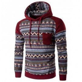 image of COLOR BLOCK TRIBAL PRINTED POCKET HOODED RAGLAN SLEEVE HOODIE (WINE RED) XL