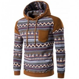 image of COLOR BLOCK TRIBAL PRINTED POCKET HOODED RAGLAN SLEEVE HOODIE (COFFEE) 2XL