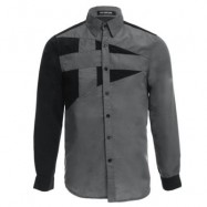 image of TRENDY TURN DOWN COLOR FULL SLEEVE COLOR BLOCK SHIRT FOR MEN (GRAY) M