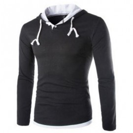 image of CASUAL PURE COLOR LONG SLEEVE MALE SLIM FIT HOODED SHIRT (BLACK) XL