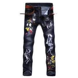 image of PAINT SPLATTER ZIPPER FLY JEANS (DEEP BLUE) 33