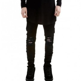 image of SKINNY ZIP FLY JEANS WITH KNEE RIPS (BLACK) 32