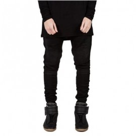 image of CASUAL DRAPE DECORATION MALE SLIM FIT PENCIL JEANS (BLACK) 36