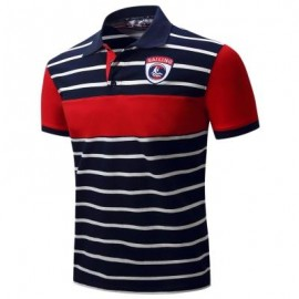 image of COLOR BLOCK PANEL STRIPE EMBROIDERED POLO T-SHIRT (DEEP BLUE) XL