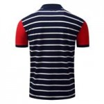COLOR BLOCK PANEL STRIPE EMBROIDERED POLO T-SHIRT (DEEP BLUE) XL