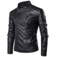 image of SENNIT DESIGN ASYMMETRICAL ZIP UP BIKER JACKET (BLACK) XL