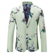 image of FLORAL PRINT SINGLE BREASTED BLAZER (LIGHT GREEN) 58