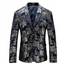 image of FLORAL GILDING SINGLE BREASTED BLAZER (PURPLISH BLUE) 48
