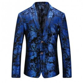 image of FLORAL GILDING SINGLE BREASTED BLAZER (ROYAL) 58