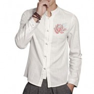 image of MANDARIN COLLAR FLORAL EMBROIDERED COTTON LINEN SHIRT (WHITE) XL
