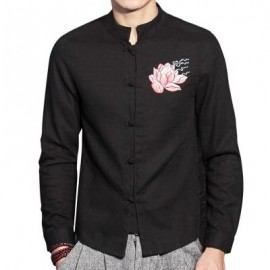 image of MANDARIN COLLAR FLORAL EMBROIDERED COTTON LINEN SHIRT (BLACK) XL