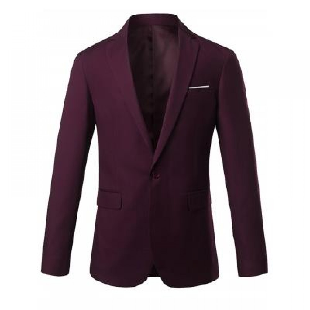 ONE BUTTON LAPEL SLIM CASUAL BLAZER (WINE RED) XL