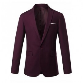 image of ONE BUTTON LAPEL SLIM CASUAL BLAZER (WINE RED) XL